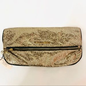 VICTORIA'S SECRET Gold Glitzy Zippered Make Up Bag
